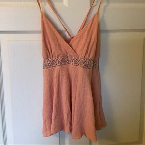 Vanity Coral colored tank med with beaded detail